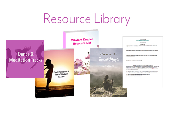 Get access to the full Rise Collective Resource Library including dance tracks and meditations to access your body wisdom, a Women's Wisdom ebook, Wisdom Keeper's Resource List, Sacred Magic workbook, and Sacred Activism Worksheet.